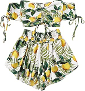 Women's Boho Floral Two Piece Outfit Off Shoulder...