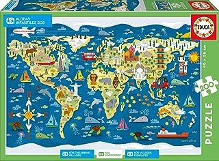 Educa- Mapamundi-Sean Sims Aldeas SOS Puzzle Infantil de 200 Piezas, a Partir de 6 años (17727)