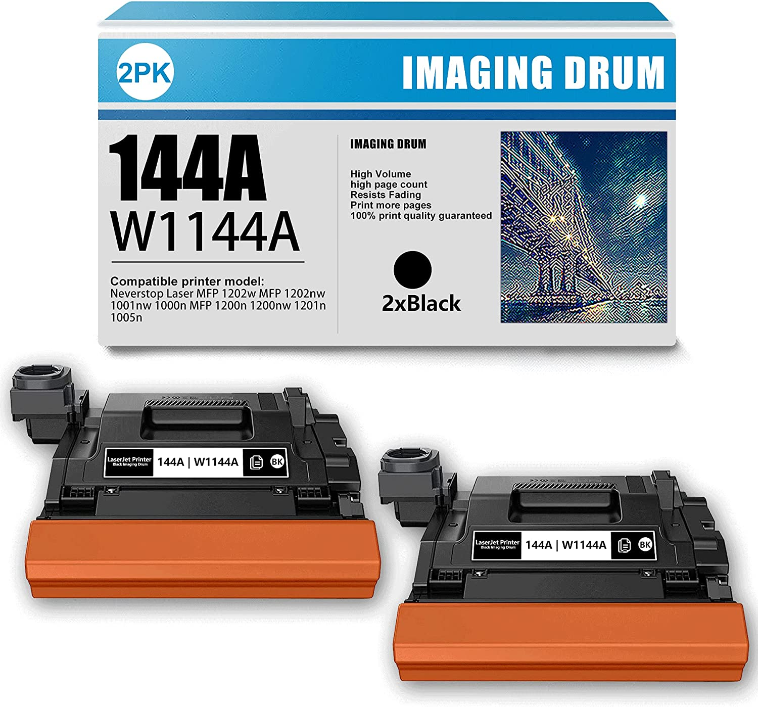 2 Pack Black Compatible 144A | W1144A Imaging Drum Replacement for HP Neverstop Laser MFP 1202w MFP 1202nw 1001nw 1000n MFP 1200n 1200nw 1201n 1005n Printer (High Yield)