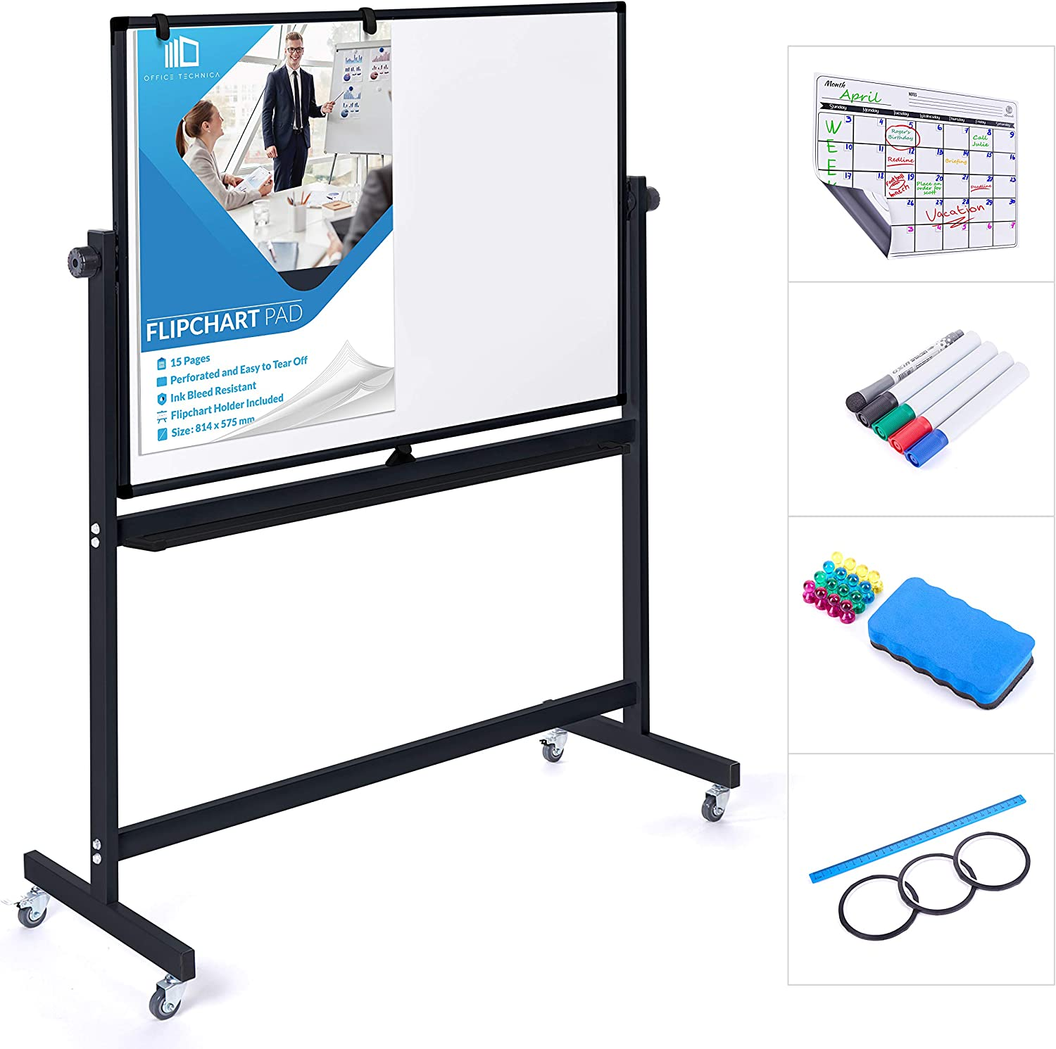 Mobile Whiteboard 48 sold out x 36 Inch B Erase Max 49% OFF Double Dry Sided Magnetic