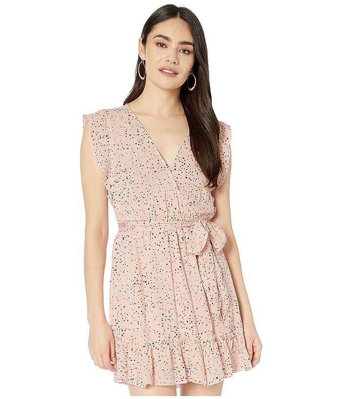 Jack by BB Dakota  Confetti Printed Crinkle Rayon Wrap Dress (Rosewater) Womens Dress
