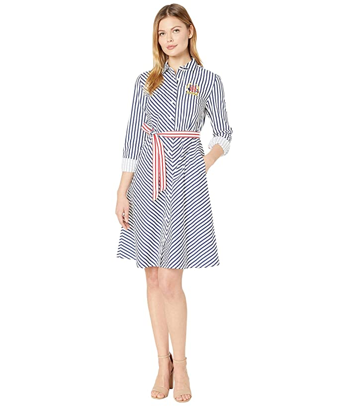 Tommy Hilfiger Adaptive  Stripe Crested Shirtdress (Bright White/Blue Depths) Womens Dress