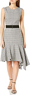 GABBY SKYE Women's Sleeveless Round Neck Plaid Print Belted A-Line Dress