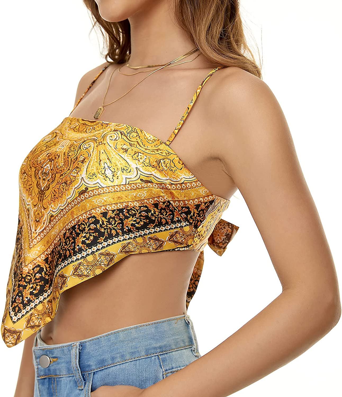 FFever Tank Tops for Women - Sleeveless Women's Tops/Backless Cami Shirt, Triangle Hem Ribbed Crop Vest