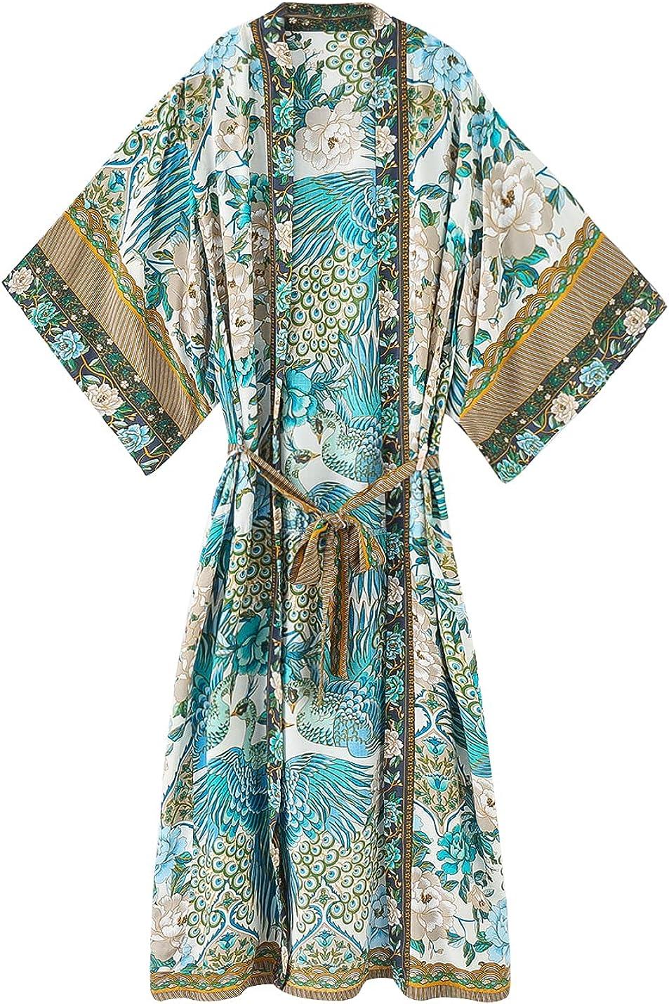 新作 大人気 SHAREYOIU Women's 公式通販 Kimono Long Robe Floral Peacock Ope Print Boho