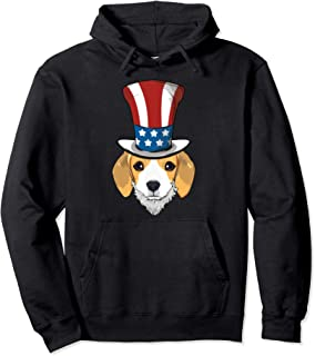 Beagle Dog Uncle Sam Hat Lincoln Beard 4th Of July USA Boys Pullover Hoodie