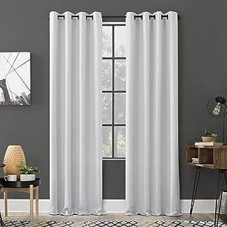 "Sun Zero Soho 2-Pack Energy Efficient Blackout Grommet Curtain Panel Pair, 54"" x 84"",Dove White, 2 Pack"