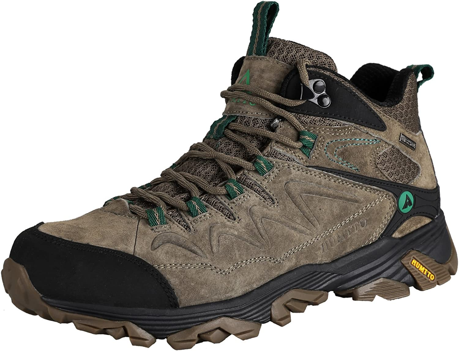 HUMTTO Outdoor Mens Lightweight Non-Slip Breathable High-Top Leather Trekking Hiking Boots