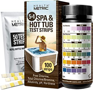Spa and Hot Tub Test Strips - 100 ct - 5 Way Chemical Testing Strip Kit Tester for Chlorine & Bromine Spas & Tubs - Calibr...