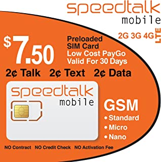 $7.50 Preloaded GSM SIM Card 30 Day Service NO Contract Triple Cut SIM