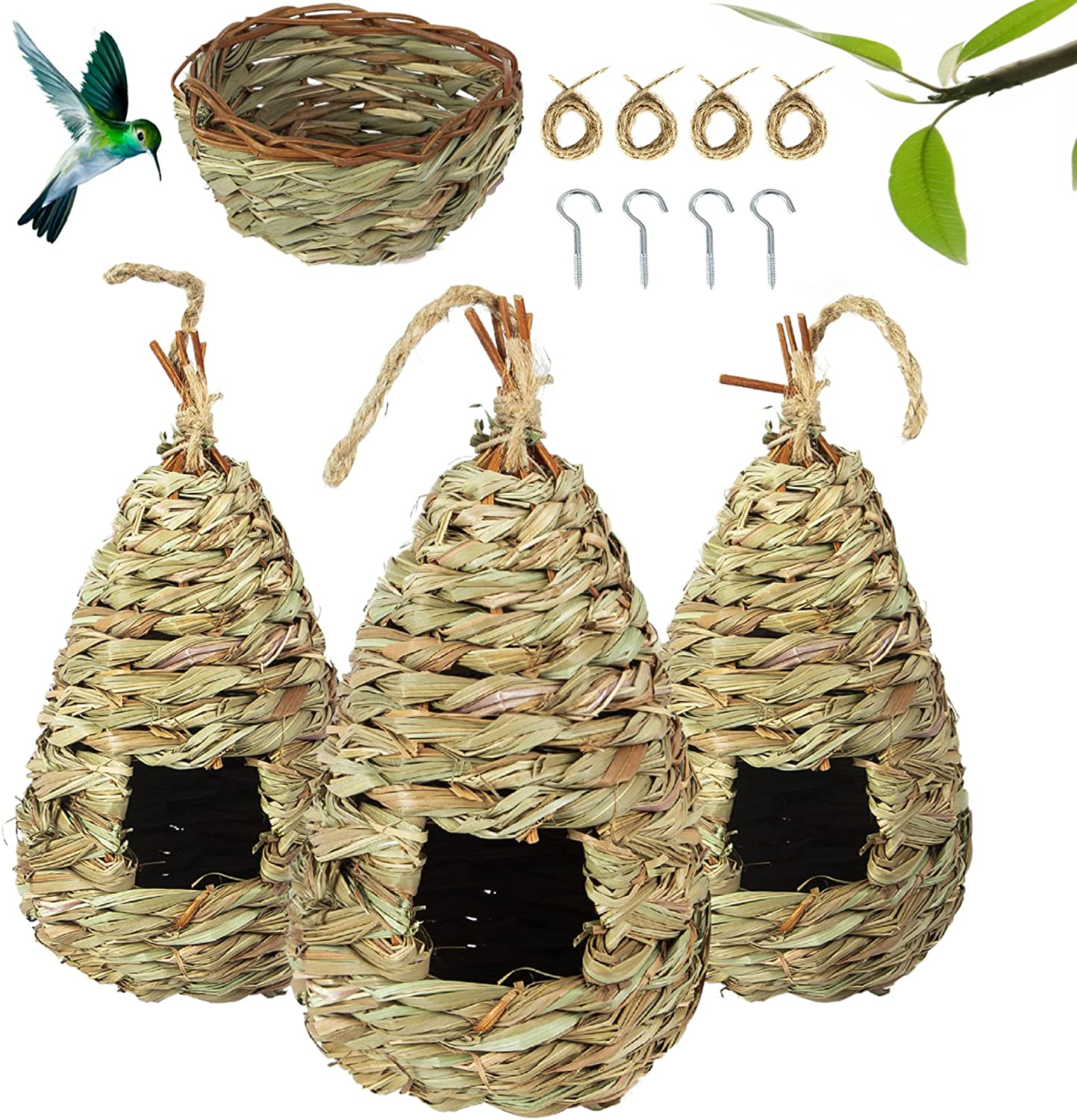 Ouddy Set of 4 Hummingbird House for Outside Hanging, Natural Hand Woven Bird House Hummingbird Nest for Outside Small Nature Grass Hanging Bird Hut for Garden Window Outdoor Home Decoration