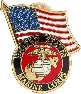 Eagle Emblems Marine Corps Logo and US Flag Lapel / Hat Pin