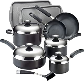 Circulon Total Hard-Anodized Nonstick 13-Piece Cookware Set, Black