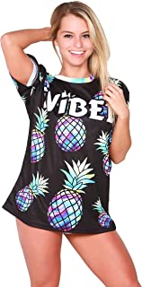 Womens Rave Jersey EDM Festival – Neon Pineapple Blacklight Glow Tshirt Clothes