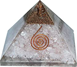 Urbanshopee Rose Quartz Gemstone Crystal Pyramid with Crystal Point and Copper Coil Symbol for Reiki Healing Chakra Balancing EMF Protection Stone Meditation DIY Gift Size: 3-3.5 Inches Approx