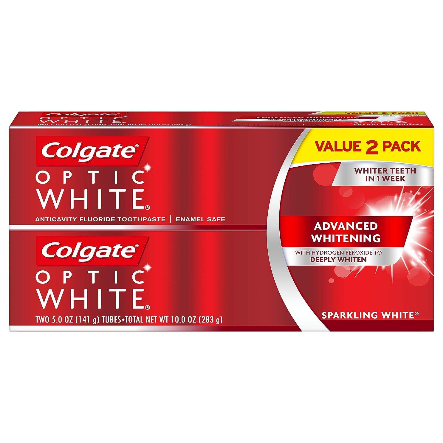 涙そのような定義Colgate オプティックホワイト虫歯予防フッ素歯磨きスパークリングミント - 2 PK