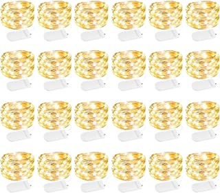 24 Pack Fairy Lights Battery Operated 7 Feet 20 Led Waterproof Starry Fairy String Lights with Flexible Silver Wire for Ma...