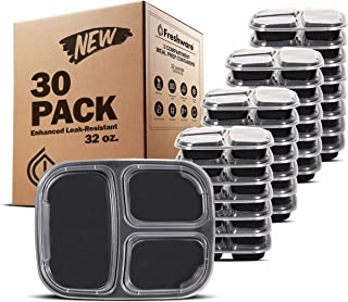 Freshware Meal Prep Containers [30 Pack] 3 Compartment with Lids, Food Storage Containers, Bento Box | BPA Free | Stackable | Microwave/Dishwasher/Freezer Safe, Portion Control, 21 Day Fix (32 oz)