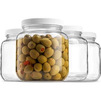 Half Gallon Glass Mason Jar (64 Oz - 2 Quart) - 4 Pack - Wide Mouth, Plastic Airtight Lid, USDA Approved BPA-Free Dishwasher Safe Canning Jar for Fermenting, Sun Tea, Kombucha, Dry Food Storage, Clear