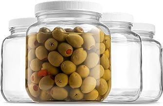Half Gallon Glass Mason Jar (64 Oz - 2 Quart) - 4 Pack - Wide Mouth, Plastic Airtight Lid, USDA Approved BPA-Free Dishwash...