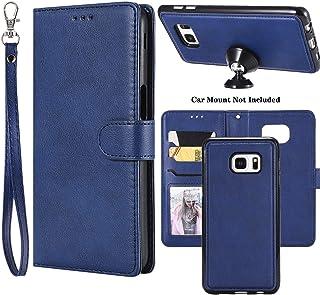 جراب Ranyi Galaxy S6 Edge Plus، جراب محفظة قابل للفصل [غطاء صلب مغناطيسي مناسب للتثبيت في السيارة] فتحات حامل بطاقة الائتم...