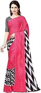 Winza Designer maheshwari Georgette with Blouse Piece Saree (G-15- Pink_Free)