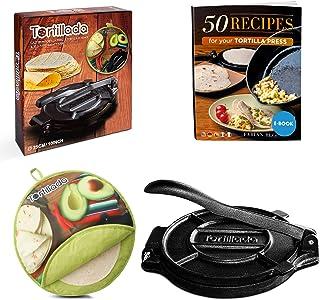 Tortillada – Premium Cast Iron Tortilla Press with Recipes E-Book (10 Inch) + Tortilla Warmer