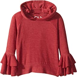 Super Soft Two Tiered Ruffled Sleeve Pullover Hoodie (Toddler/Little Kids)