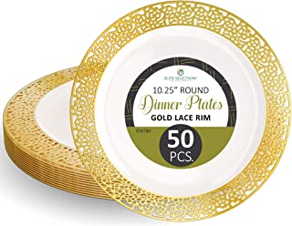 """Disposable Plastic Party Plates - 50 Pack 10.25"""" Dessert Plate - Elegant Round Cream Plate with Gold Lace Design - Ecofriendly Kitchen Dinnerware - by Elite Selection"""