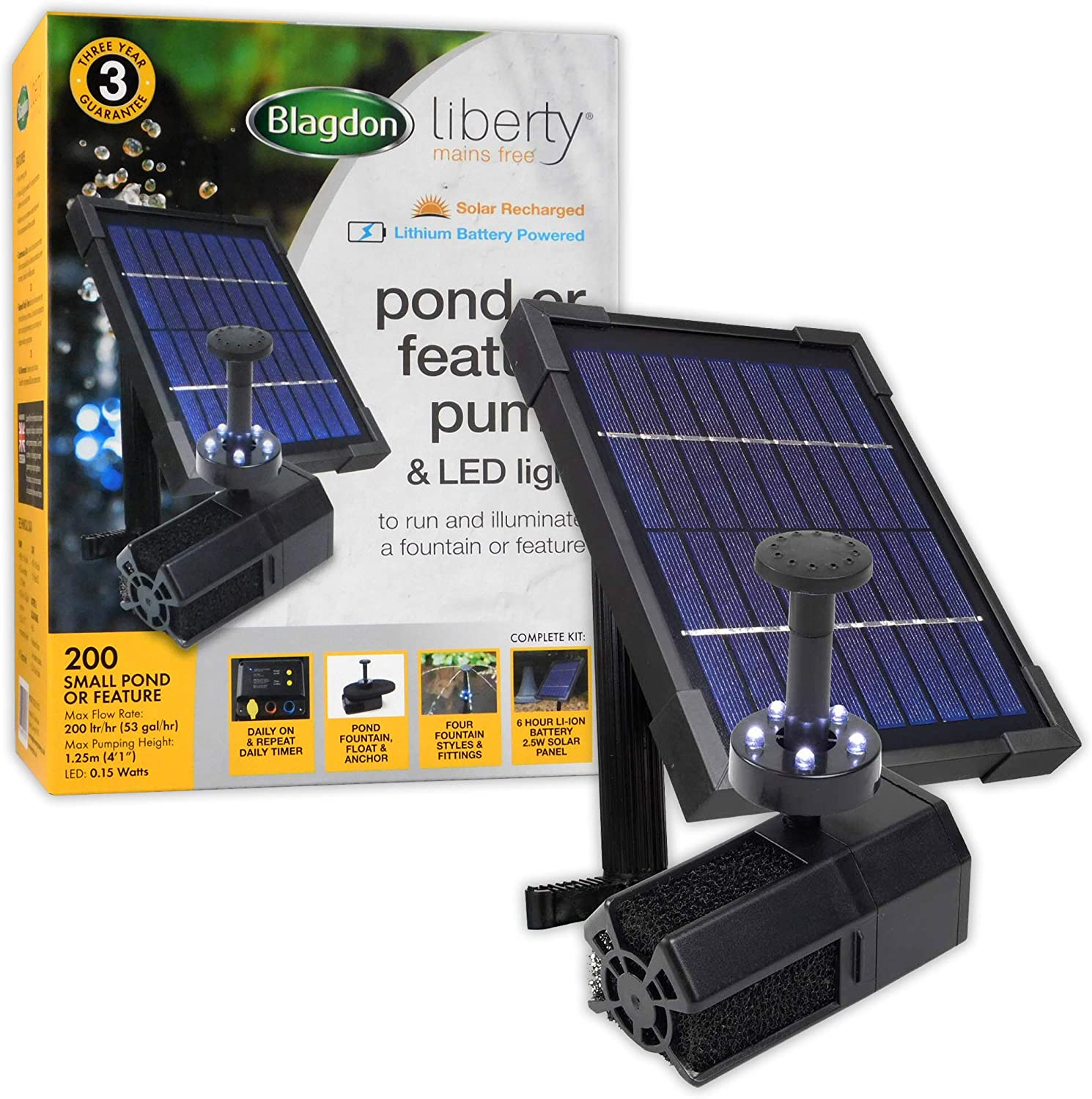 Blagdon Liberty 200 Solar Powered Pond Or Feature Pump And LED Light