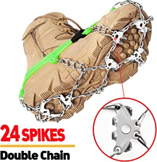 24 Spikes Crampons Ice Cleats Traction Snow Grips for Boots Shoes,Anti-Slip Stainless Steel Spikes,Microspikes for Hiking Fishing Walking Climbing Jogging Mountaineering.