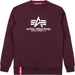 ALPHA INDUSTRIES Men's Basic Sweater Sweatshirt, Deep Maroon, 37.13