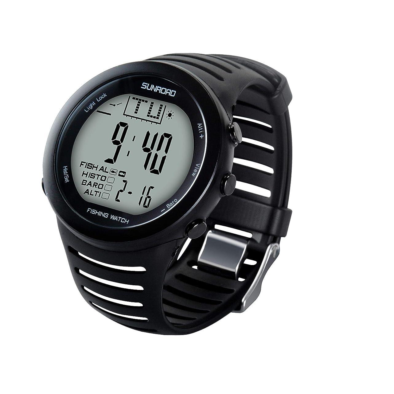 待つ予知正午SUNROAD多機能メンズ電子時計高度計/晴雨表/温度計/智能魚釣り/登山ジョギング腕時計50m防水ディジタル腕時計(日本語取扱説明書あり)