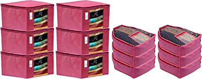 Kuber Industries Non Woven 6 Pieces Saree Cover/Cloth Wardrobe Organizer and 6 Pieces Blouse Cover Combo Set (Pink)