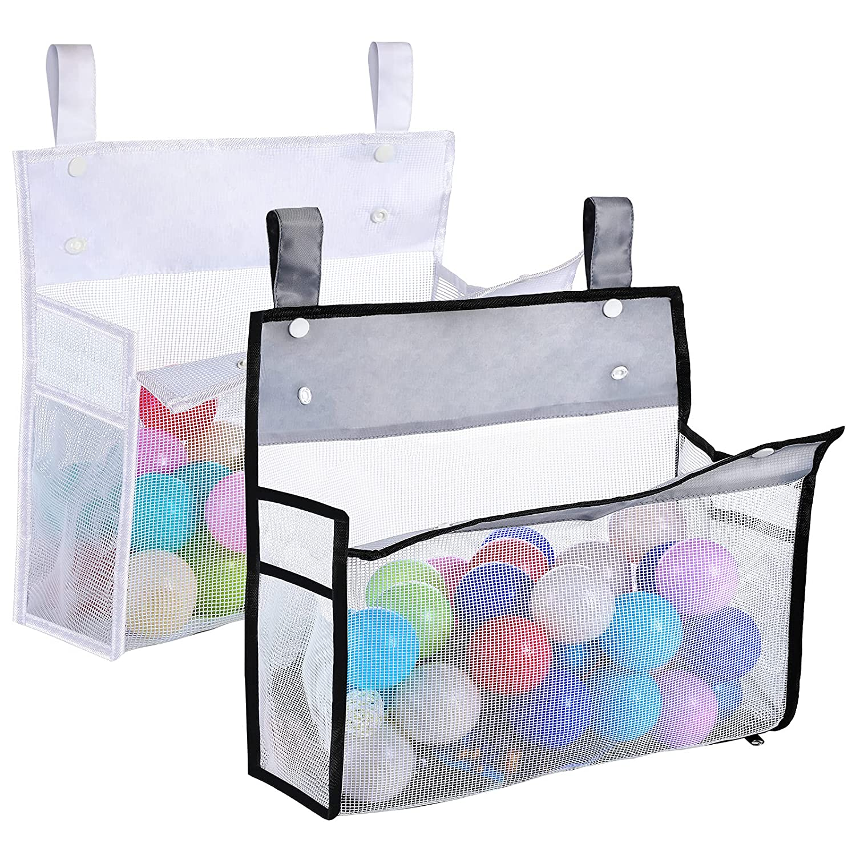 2 Pieces Bath Toy Organizers Baby Bath Toy Bag Bathtub Toy Storage Bag Machine Washable Multiple Ways to Hang for Shower Caddy Basket Tub Supplies (White, Gray)