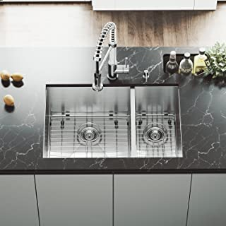 VIGO VG2920BLK1 29 inch Undermount 70/30 Double Bowl 16 Gauge Stainless Steel Commercial Grade Kitchen Sink with 2 Grids and Strainers and SoundAbsorb Technology