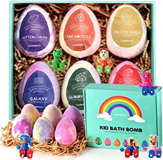 GAINWELL KIDS Bath Bombs Gift Set –XL SIZE(6 x 5 Oz) – Handmade Essential Oil Spa Galaxy Bomb Fizzies with Hand Painted Wooden Toys– for Relaxation, Moisturizing and Fun for All Ages
