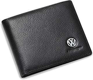 Volkswagen Bifold Wallet with 3 Card Slots and ID Window - Genuine Leather