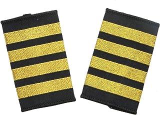 WSSROGY 1 Pair Pilot Uniform Gold Epaulets Captain Four Bars