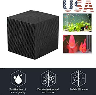 Eco-Aquarium Water Purifier Cube, Uscharm Carbon Water Filter Cube Easy Water Purification for Aquariums with Carbon Filter, Strong Absorption (Black, 10X10X10CM)