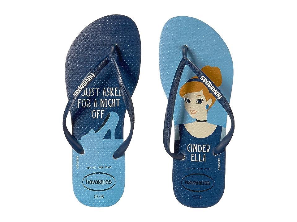 Havaianas Slim Princess Flip Flops (White/Navy Blue) Women