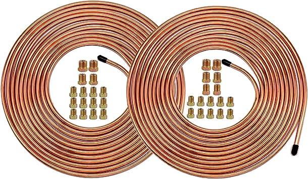 """25 Ft. of 1/4 & 3/16 Brake Line Tubing Kit - Muhize Flexible Tube Roll 25 ft 1/4"""" & 3/16"""" (Includes 16 & 16 Fittings): image"""