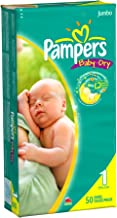 Pampers Baby Dry Diapers, Jumbo Pack, Size 1, 50 Count (Pack of 2)