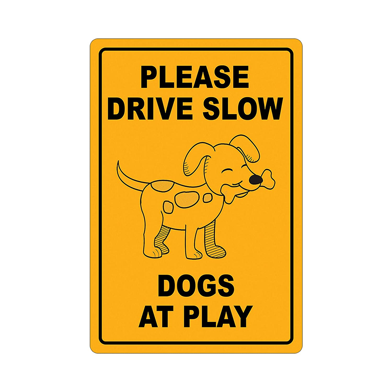 Please Under blast sales Max 78% OFF Drive Slow Dogs at Metal Aluminum Sign Play Warning