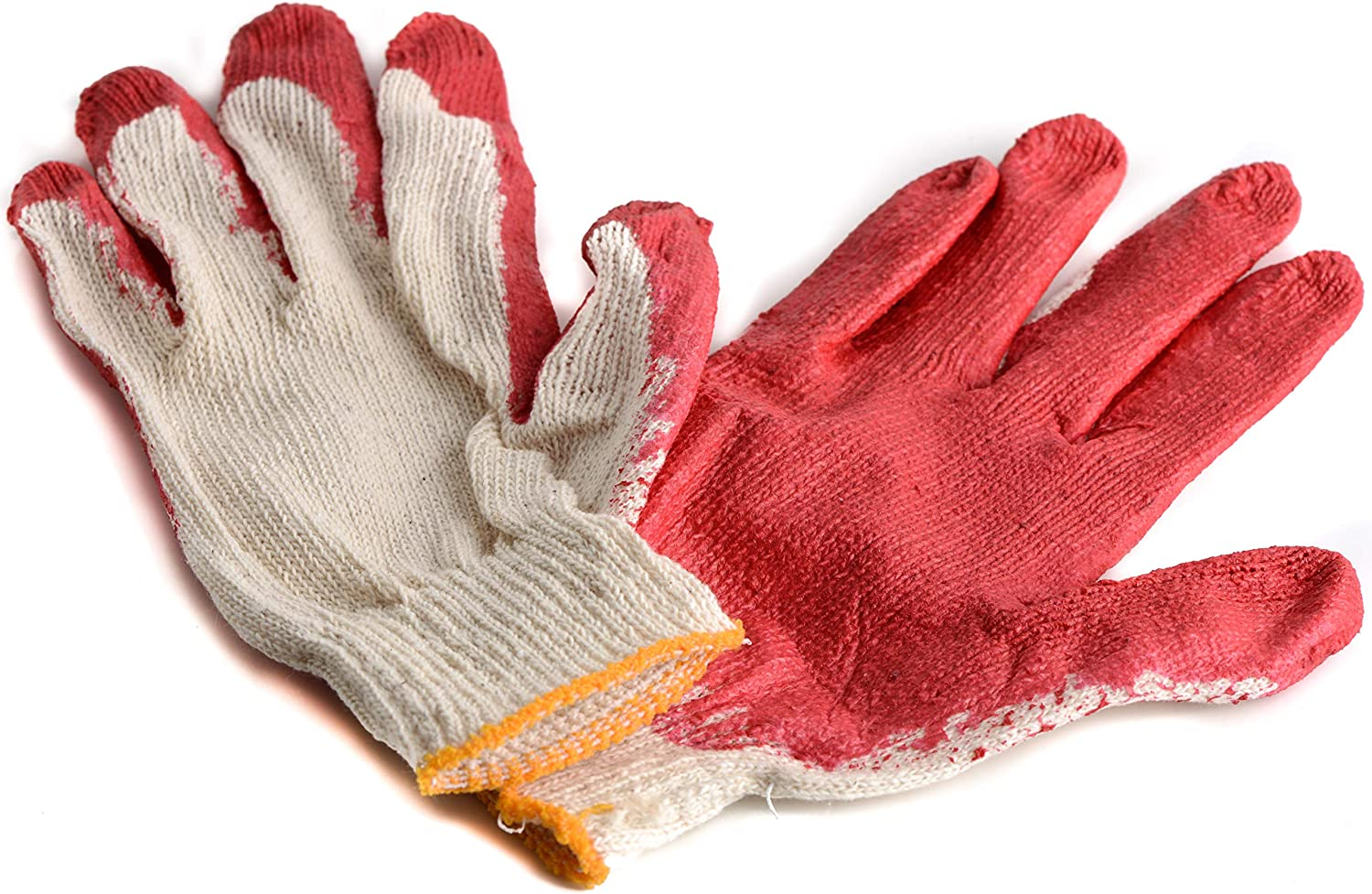 250 Pairs - Red Max 65% OFF Latex Coated Regular discount Work by EcoQ Cotton MEDIUM Gloves