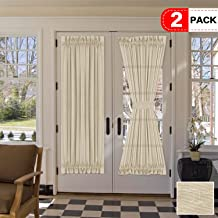 H.VERSAILTEX 72 Inches Length French Door Curtain Panels Light Filtering Natural Linen Blended Solid Rod Pocket Curtains for Glass Door - 52