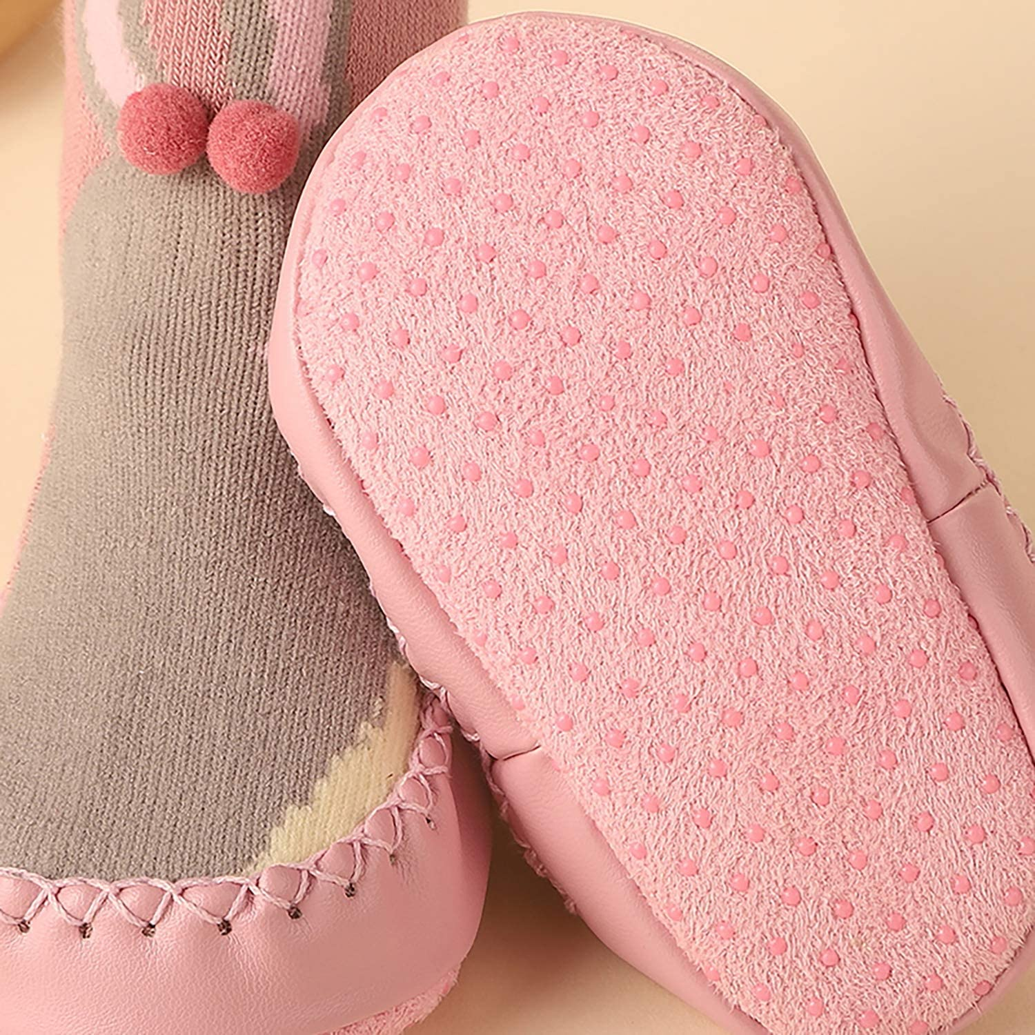 Baby Toddler Warm Cotton Slipper Booties Socks with Cute Animal Pattern Non Skid Shoe Socks Infant Boys Girls for 9-32 months