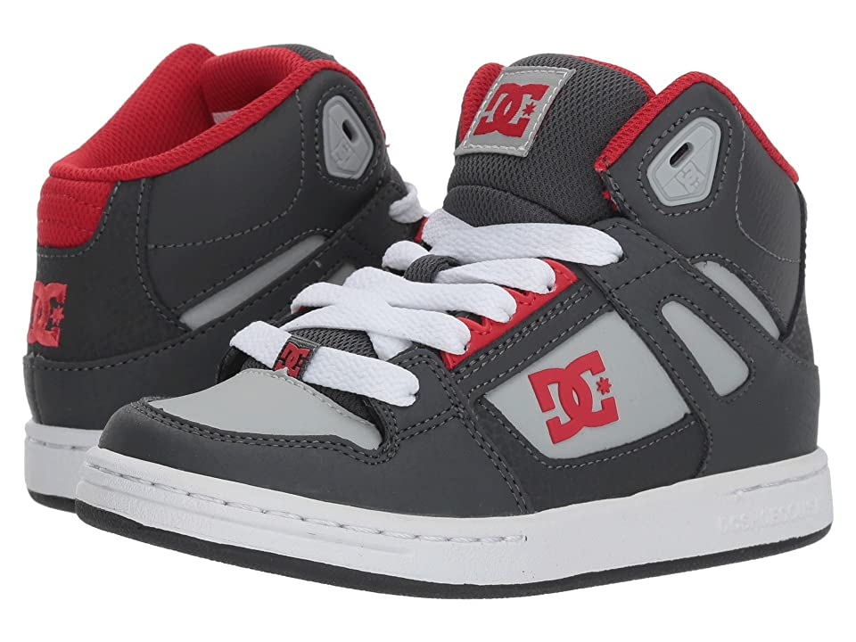 DC Kids Pure High-Top (Little Kid/Big Kid) (Grey/Grey/Red) Boys Shoes