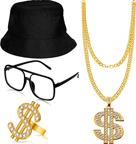 Hip Hop Costume Kit Bucket Hat Sunglasses Gold Chain Ring 80s/90s Rapper Accessories