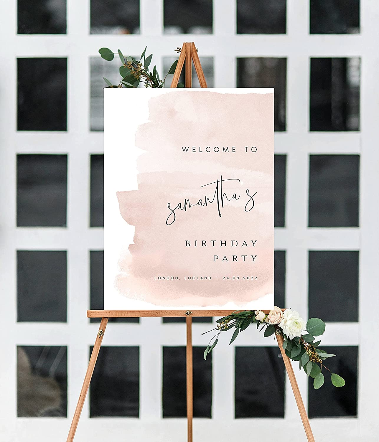 DKISEE Blush Pink Birthday Welcome Ultra-Cheap Deals Sign Template Popular popular Birt Printable